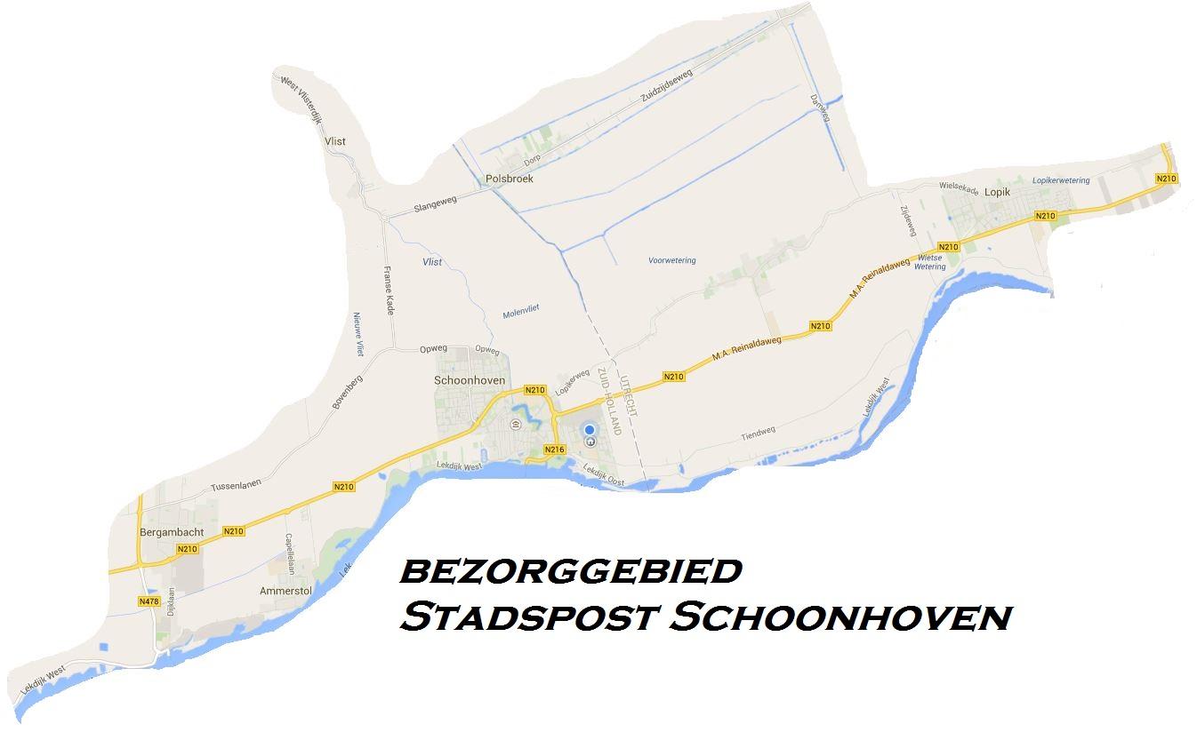 Bezorggebied Stadspost Schoonhoven